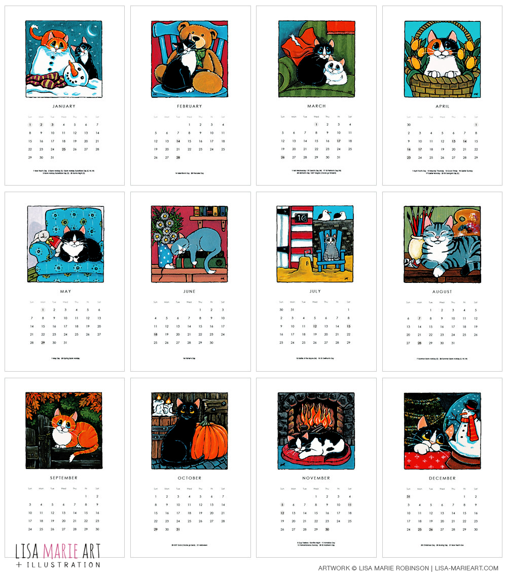 2017 Cat Calendar Month by Month