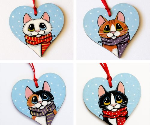 Hand painted Wooden Cat Tree Decorations