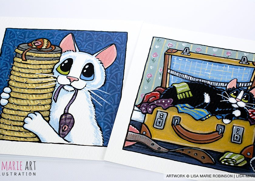 Cute Cat Illustrations at Whitby Galleries - December 2016