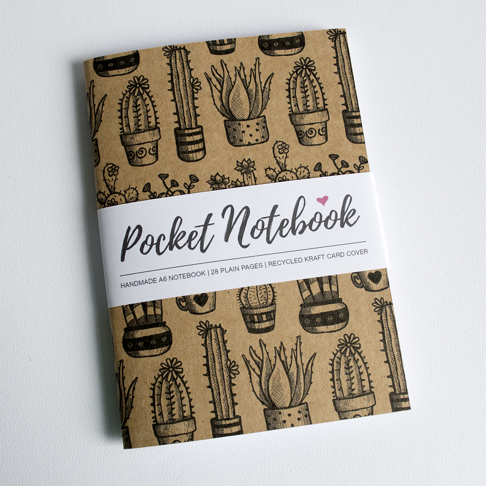 Handmade Cactus Pocket Notebook