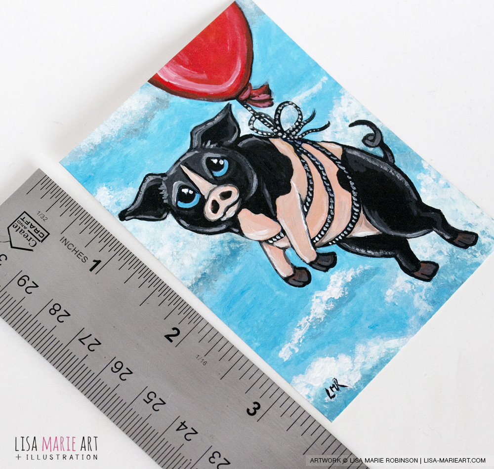 Roscoe - Pig ACEO Art Card Ruler for Scale