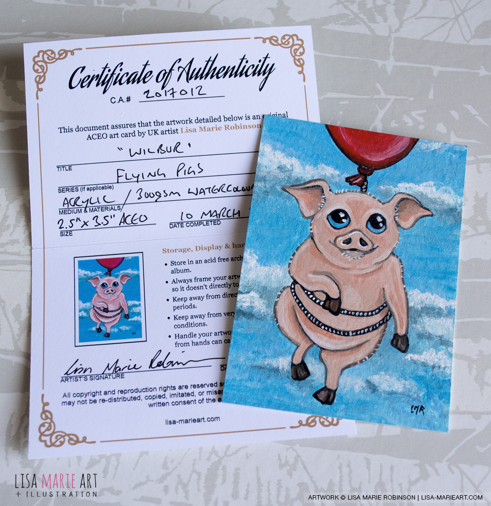 Wilbur - Pig ACEO Art Card with COA