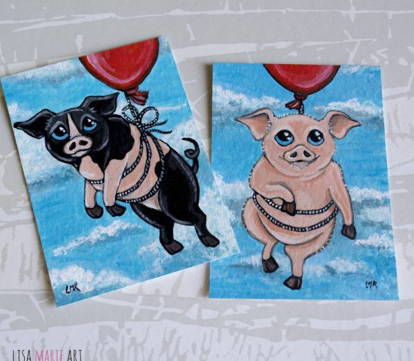 Wilbur and Roscoe - Pig ACEO Art Cards