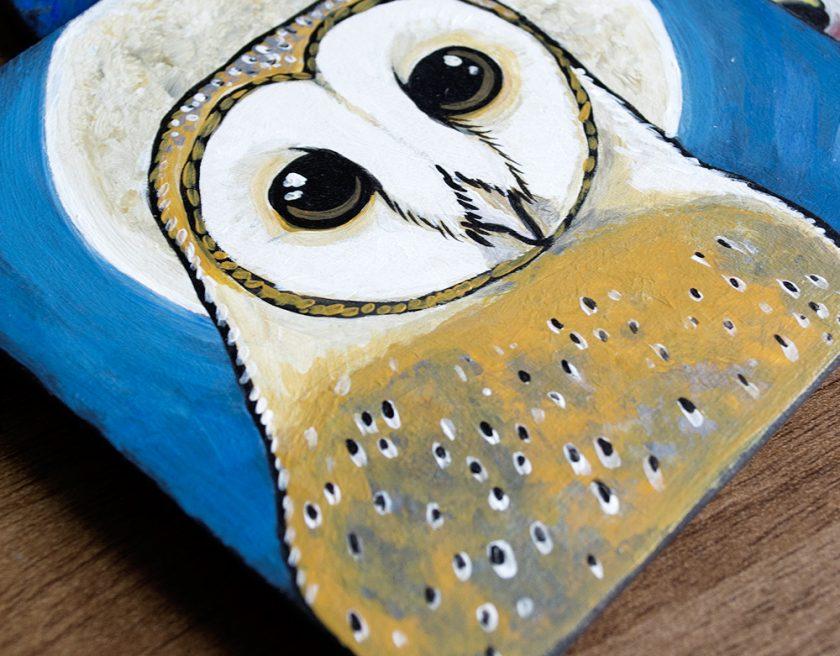 Barn Owl Coaster Art - Work in Progress