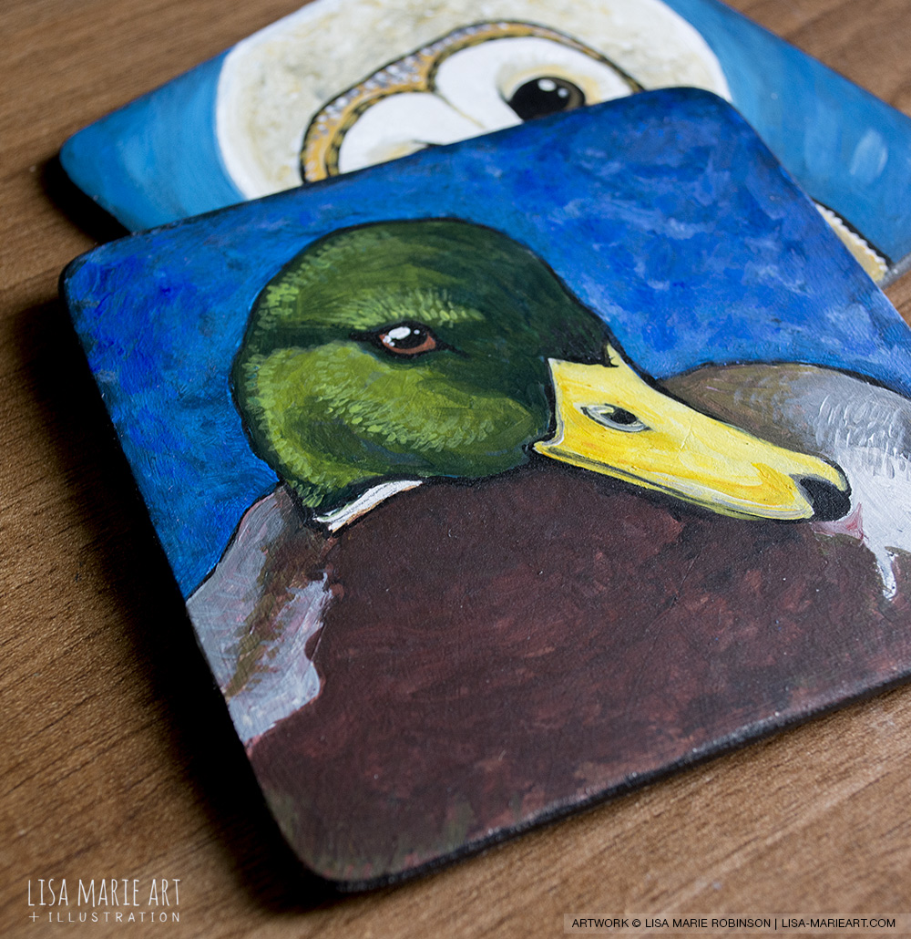 Mallard Duck Coaster Art - Work in Progress