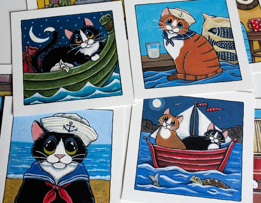 Sailor Cat Paintings for Whitby Galleries