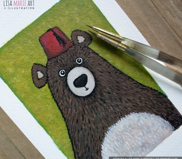 Bear wearing a Fez Painting - Work in Progress