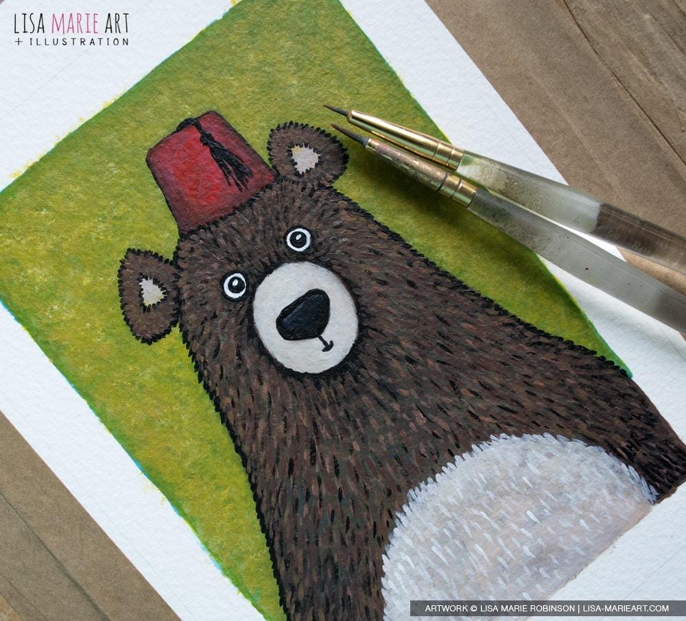 Bear wearing a Fez Painting - Work in Progress