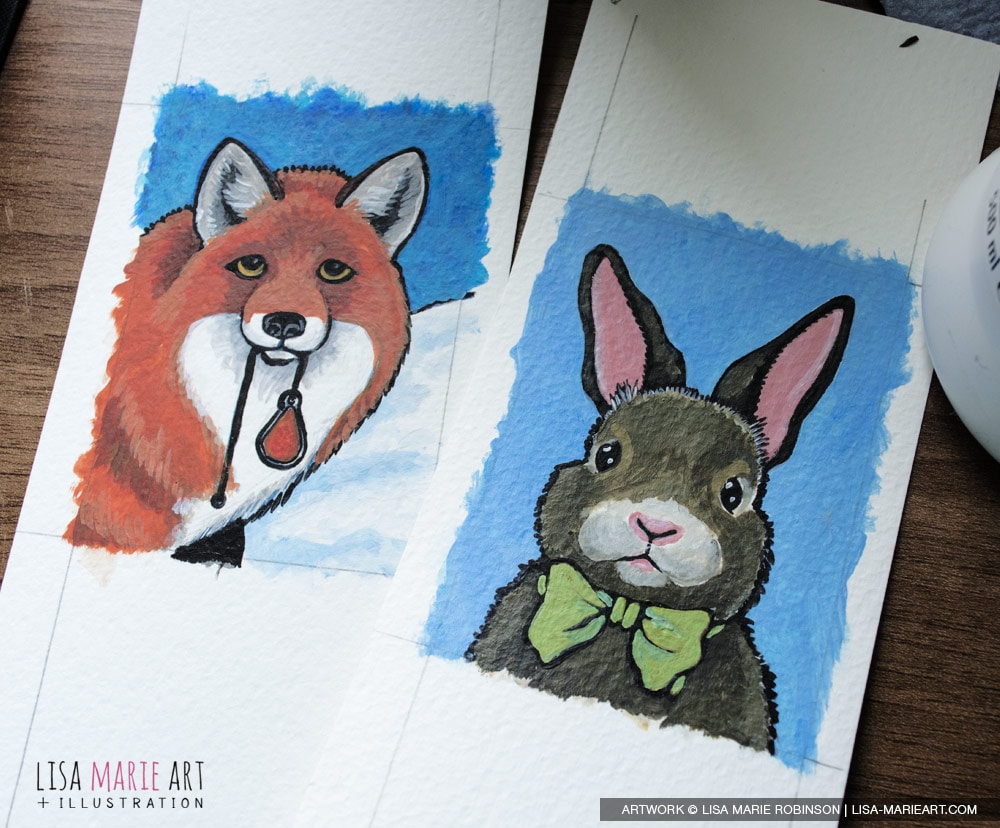 Fox and Rabbit ACEO - Work in Progress