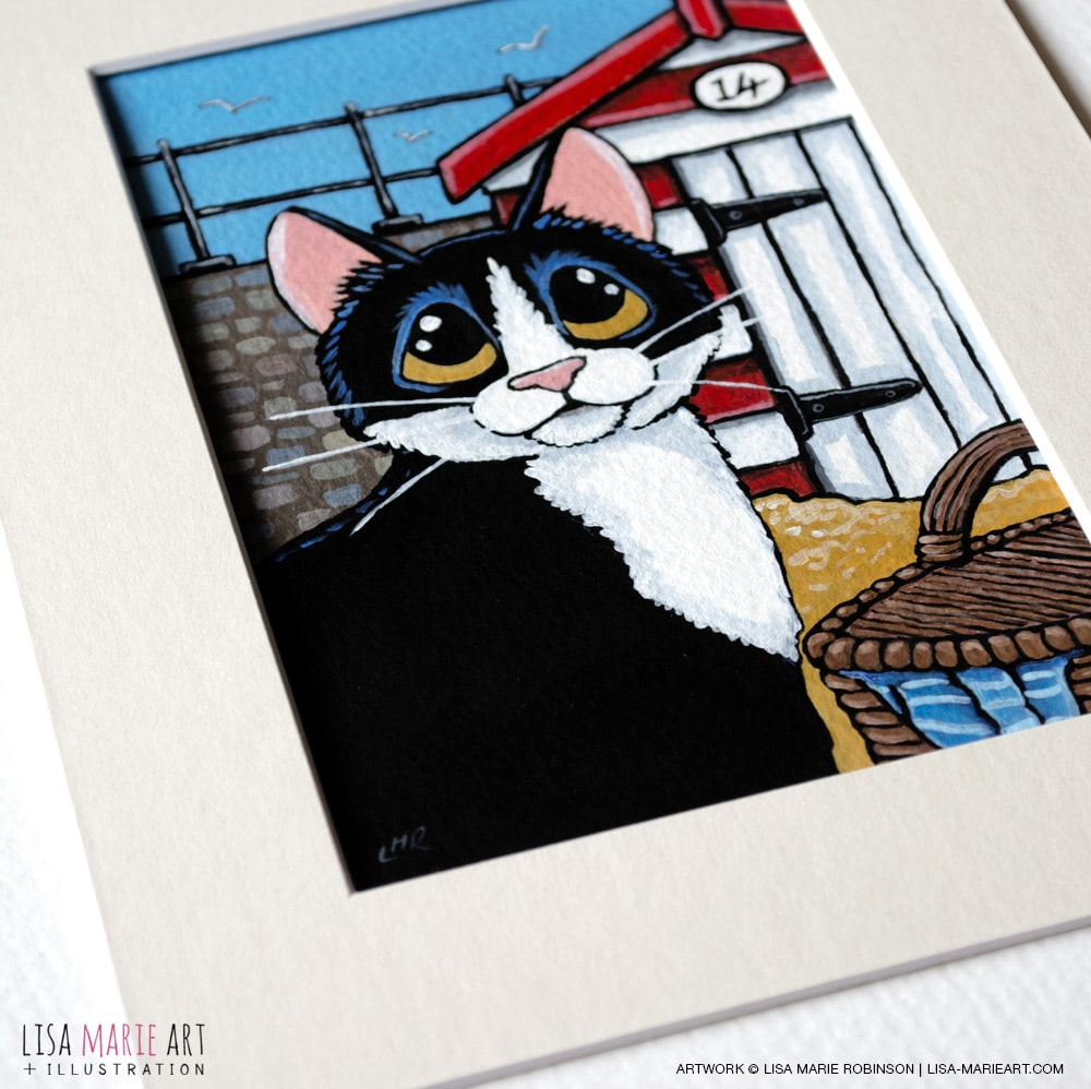 Tuxedo Cat and Beach Hut Painting with Mount
