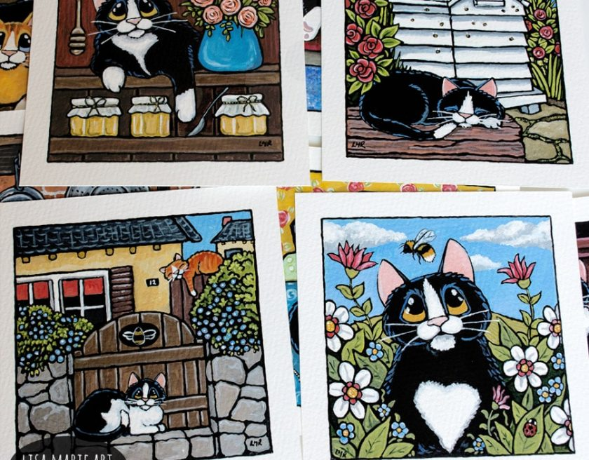 Bee Happy Whitby Cat Paintings July 2017