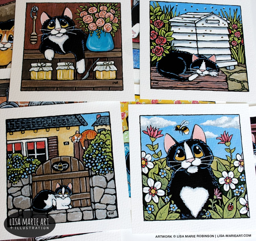Bee Happy Whitby in Bloom Cat Paintings July 2017