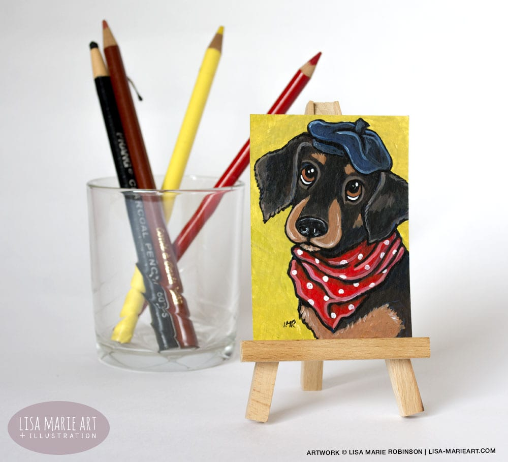 Cute Dachshund ACEO Painting