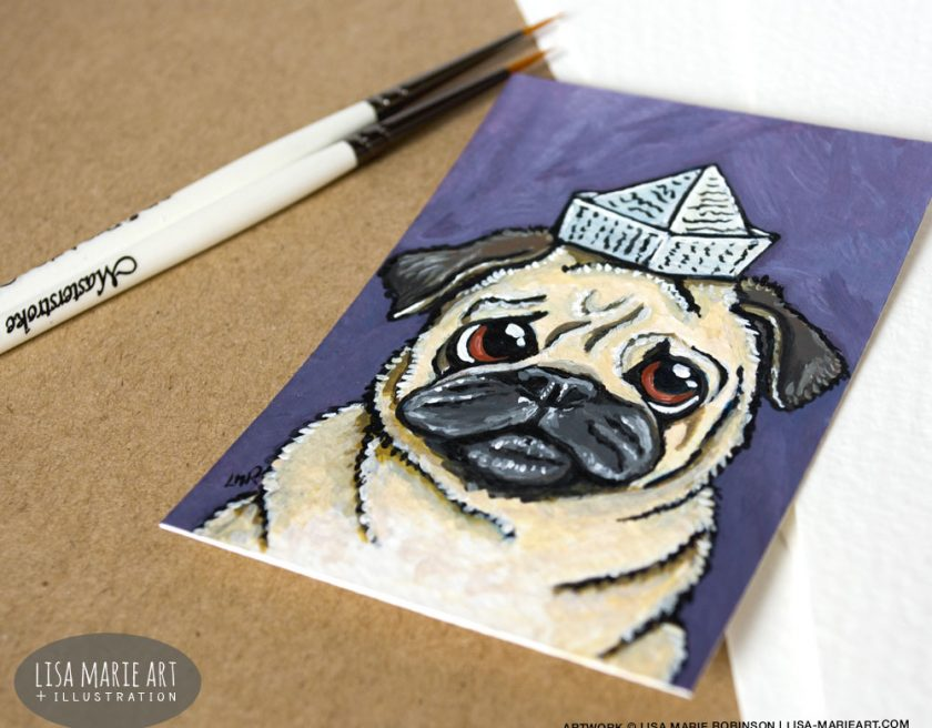 Silly Pug ACEO Painting