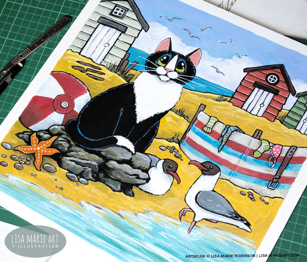 Tuxedo Cat at the Beach Illustration