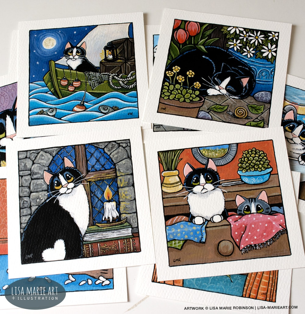 Tuxedo Cat Paintings - Whitby Galleries Aug 2017