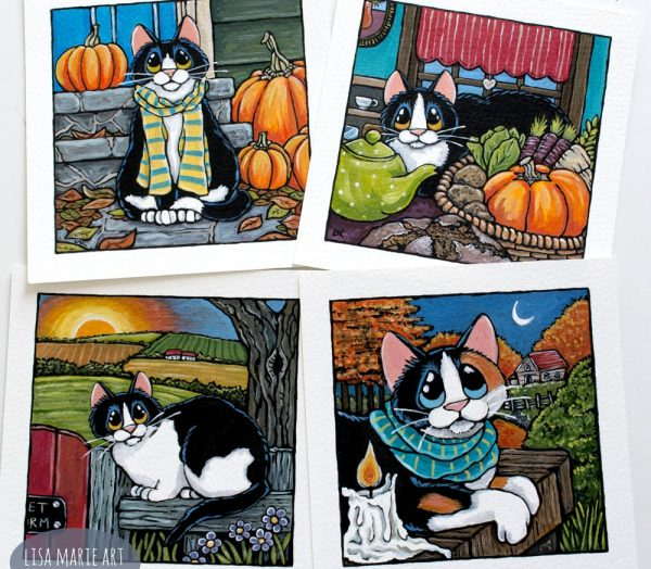 Autumnal Cat Paintings - Whitby Galleries Oct 2017