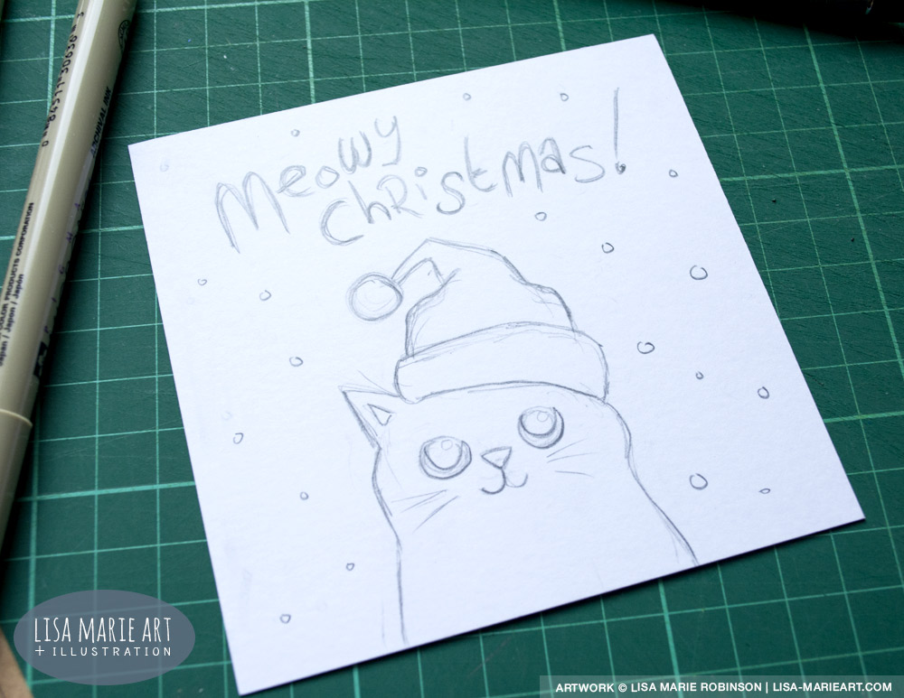 Hand Drawn Cat Christmas Card Sketch