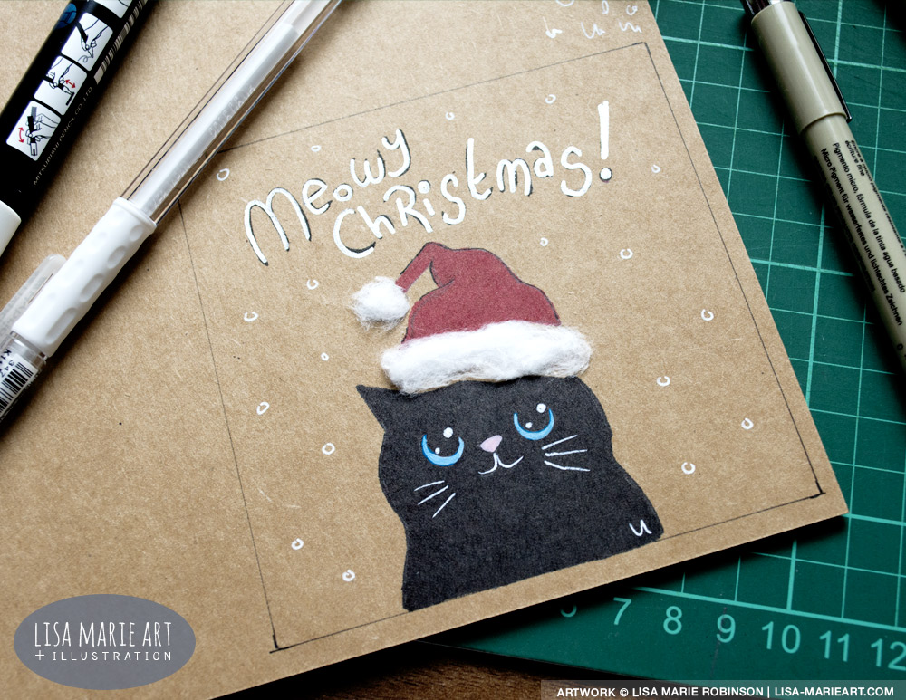 Cotton Wool & Kraft Card Cat Christmas Card Test