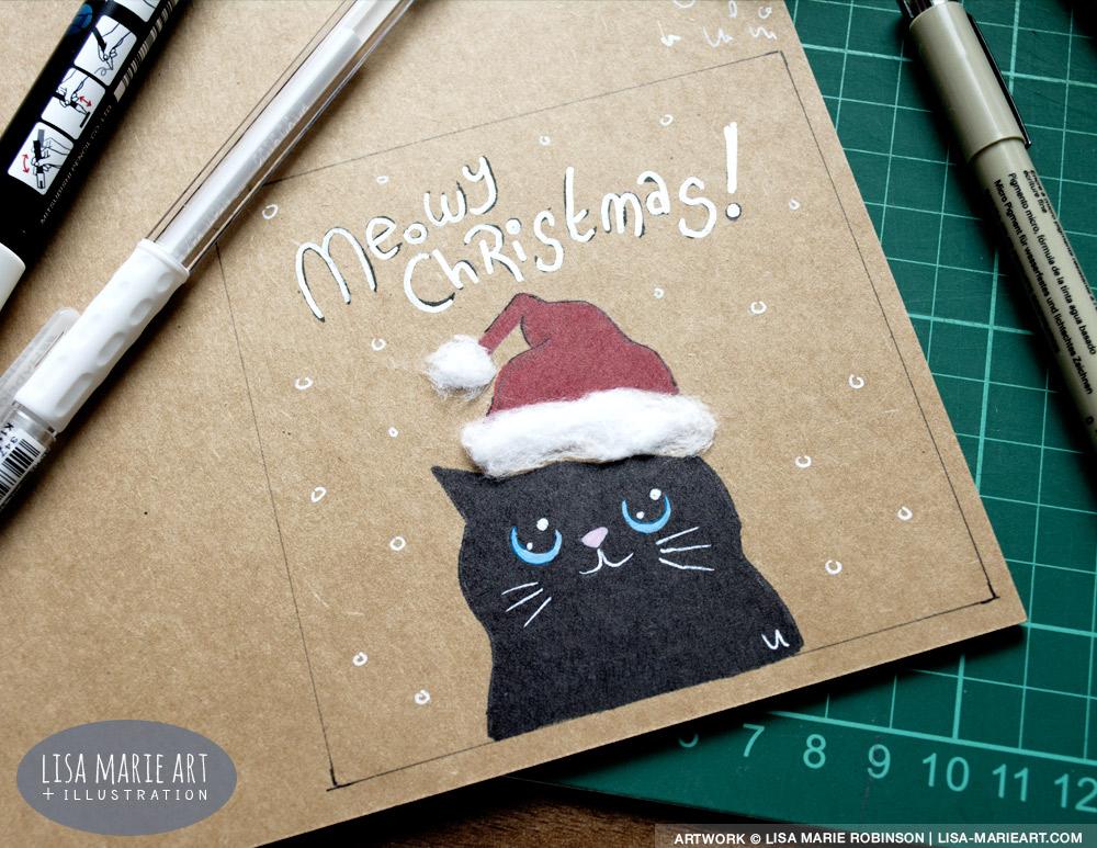 Cotton Wool & Kraft Card Cat Christmas Card Test