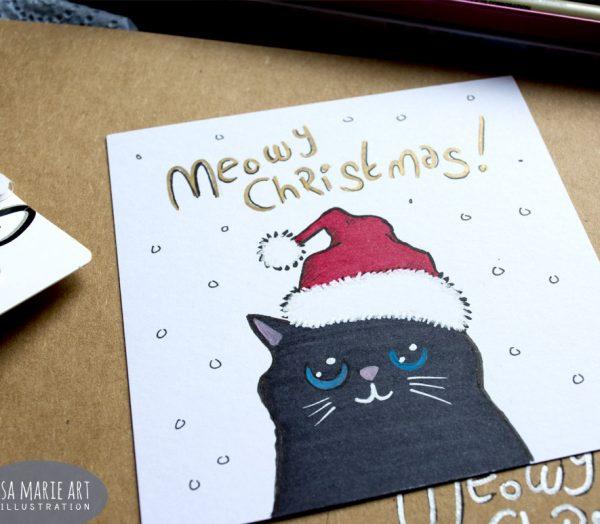 Hand Drawn Cat Christmas Card: Sharpie & Posca Test