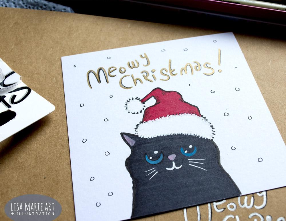 Hand Drawn Cat Christmas Cards: Sneak Peek » Lisa Marie Art ...