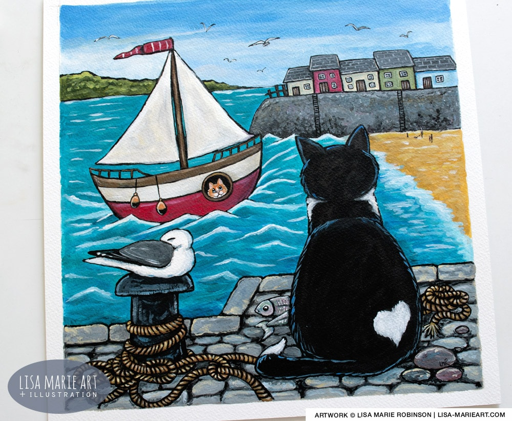 The Arrival - Harbour Cat Painting Whitby Galleries Oct 2017