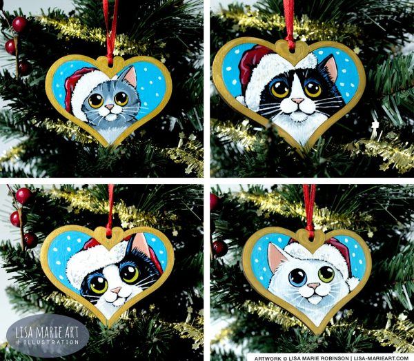 Hand painted Cat Christmas Decorations