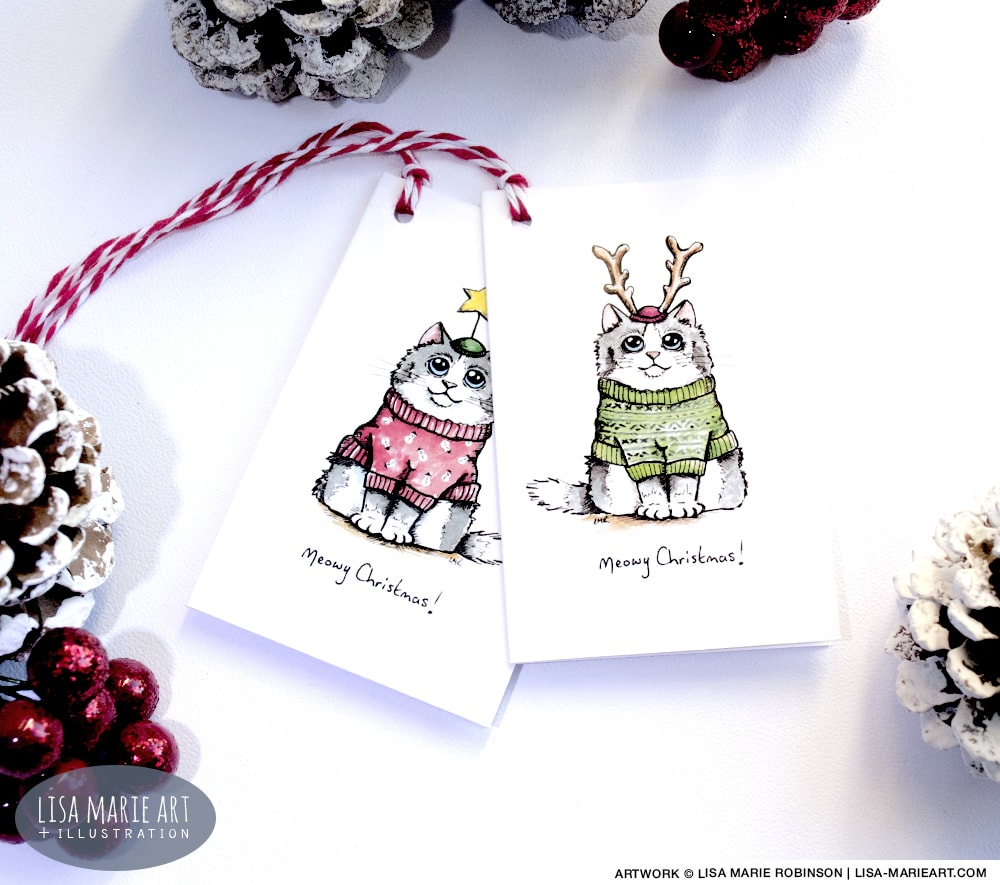 Cat Meowy Christmas Gift Tags