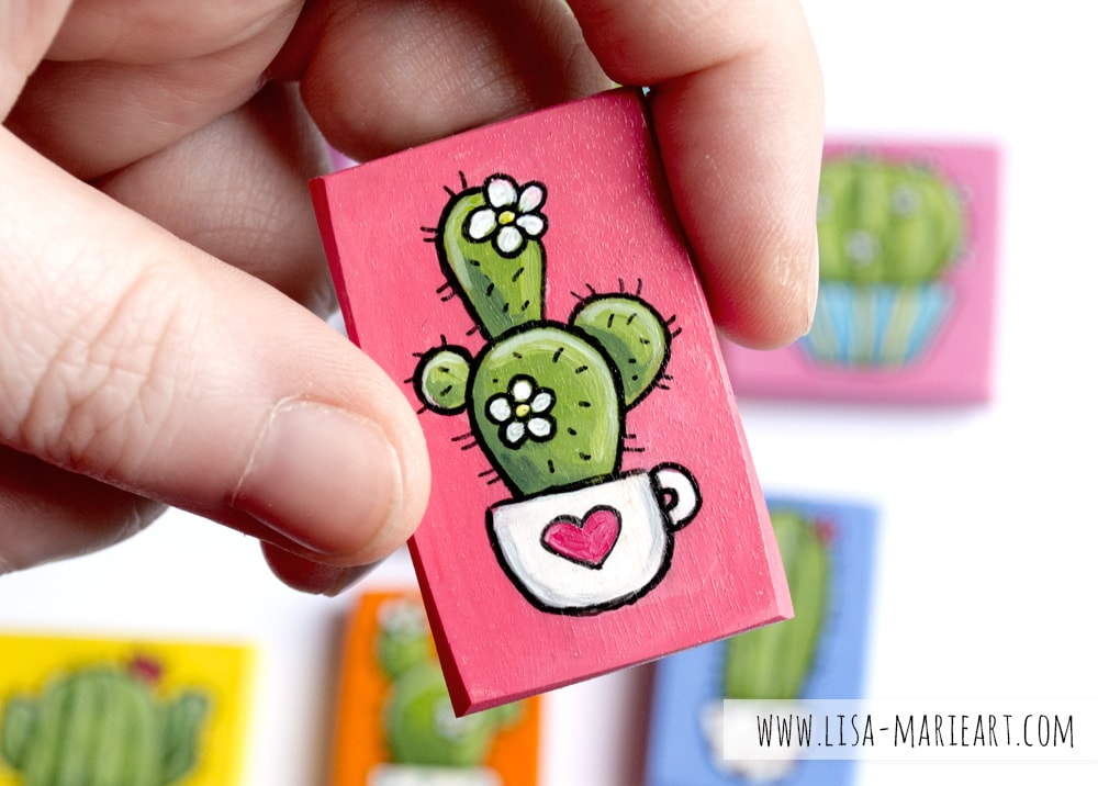 Hand Painted Cactus Magnet Closeup