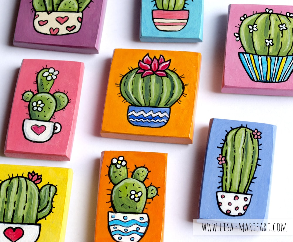 Colourful Hand Painted Cactus Magnets