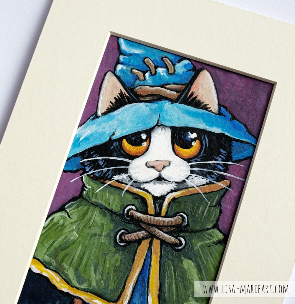 Felix Yarnell - Original Mage Cat Painting