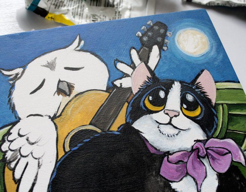 Owl & the Pussycat Painting - Work in Progress
