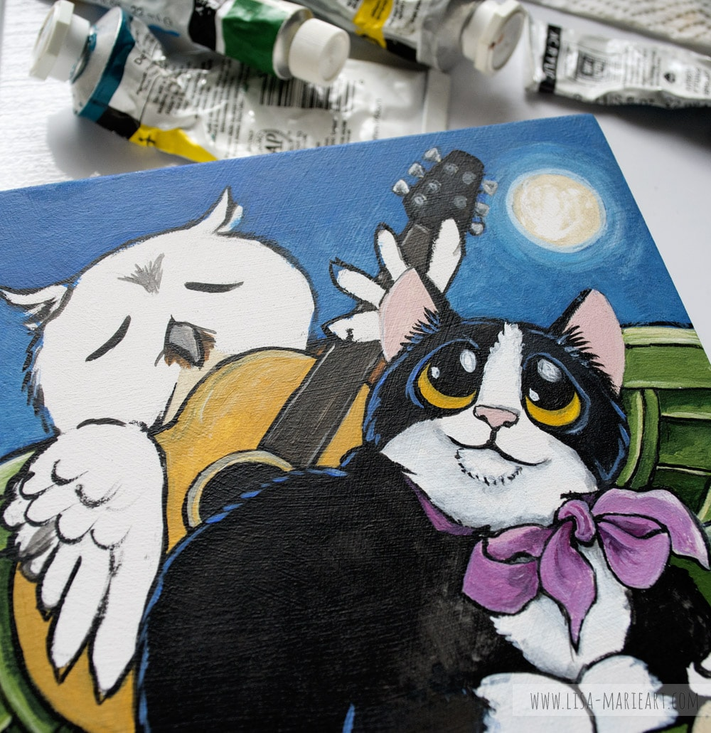 Illustrating Owl & the Pussycat Painting - Work in Progress
