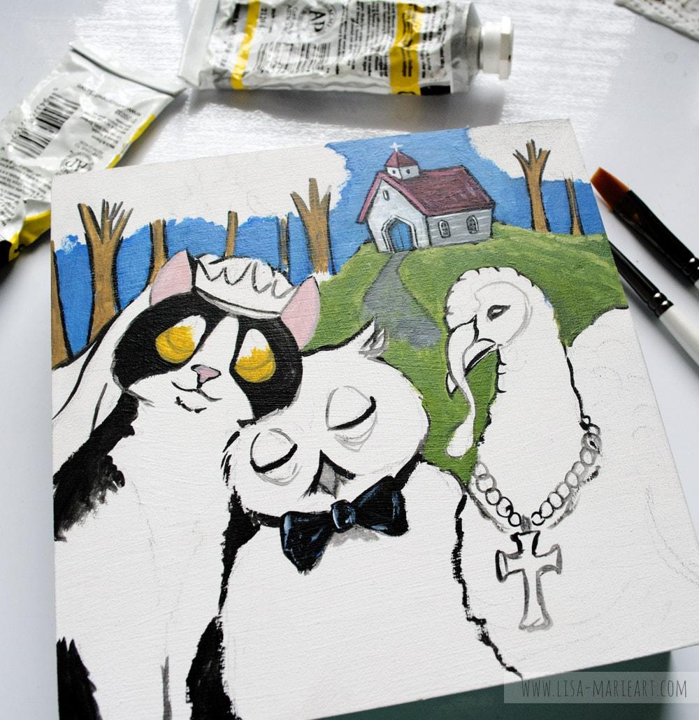Illustrating Owl & the Pussycat Painting - Work in Progress