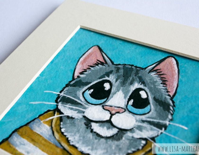 Tabby Cat Wearing a Striped Shirts Illustration