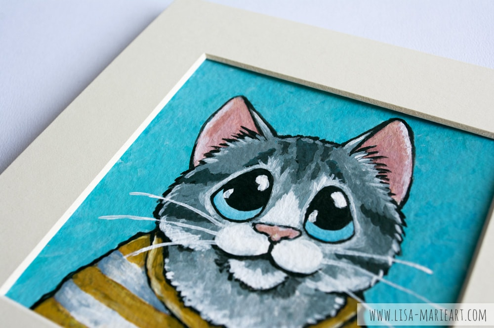 Tabby Cat Wearing a Striped Shirt Illustration