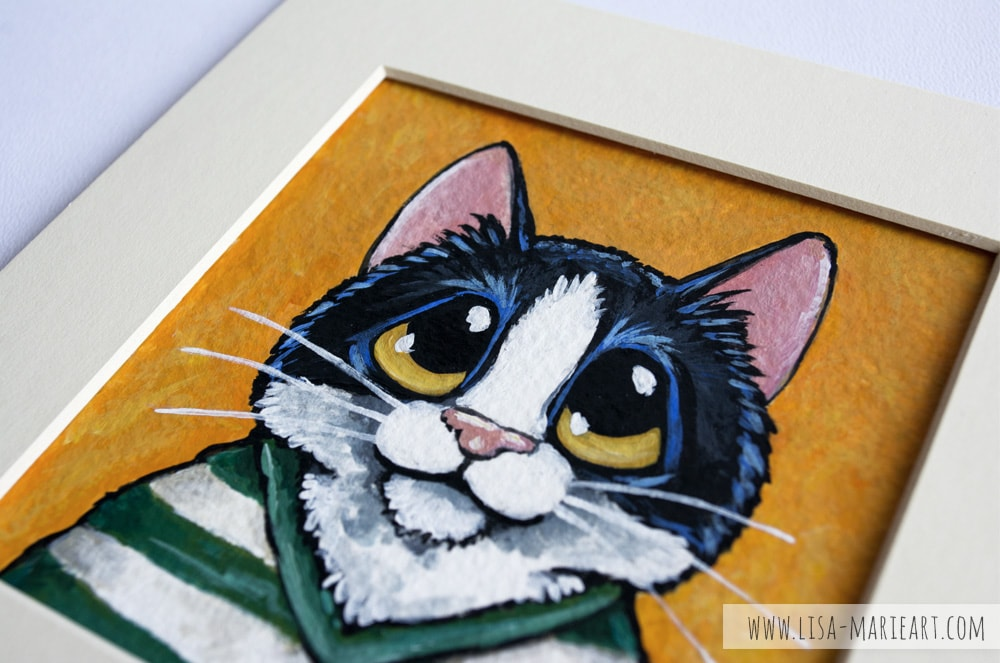 Tuxedo Cat Wearing a Striped Shirt Illustration