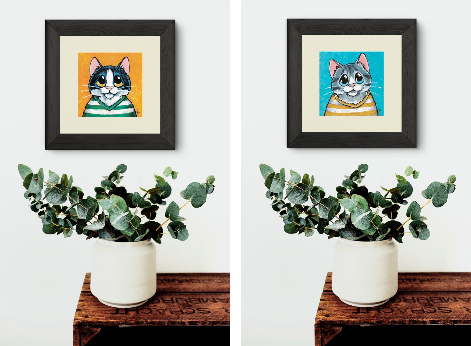 Cats Wearing Striped Shirts Illustrations