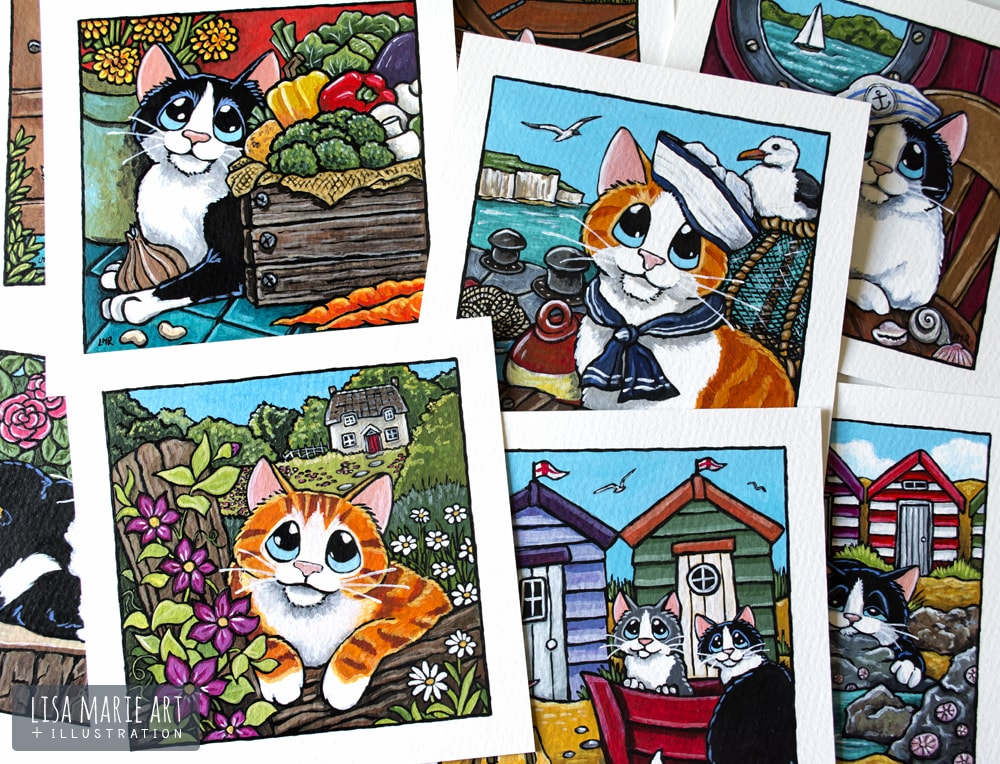 Summer Themed Cat Illustrations