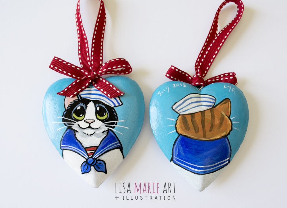 Sailor Cat Heart Hanging Decoration