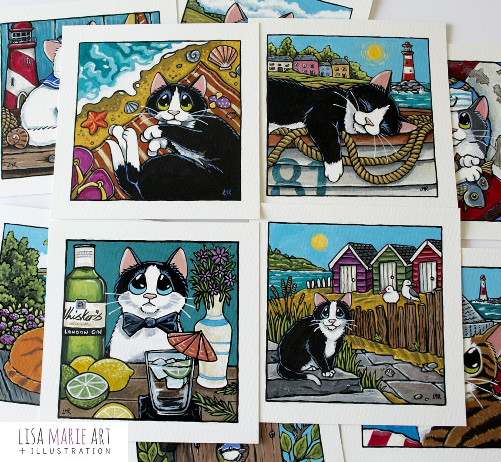 Summer Fun Cat Illustrations - Whitby July 2018