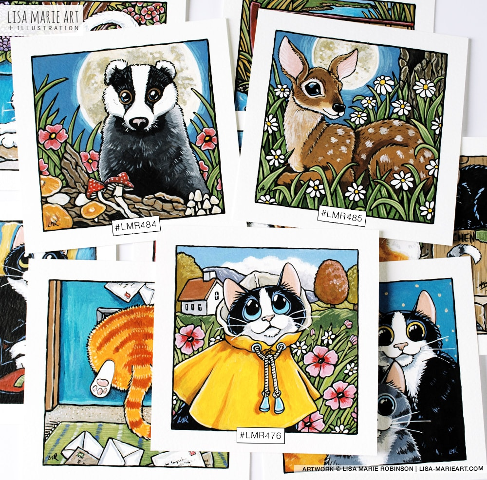 Deer, Cat and Badger Illustrations at Whitby Galleries