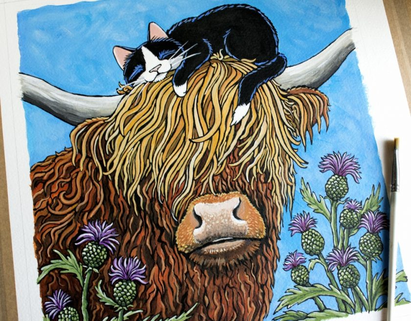 Highland Cow & Sleeping Kitty Painting