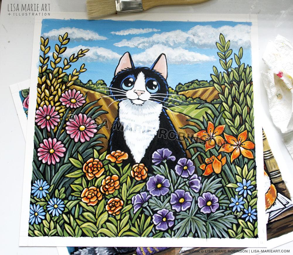 flowers & fields cat painting