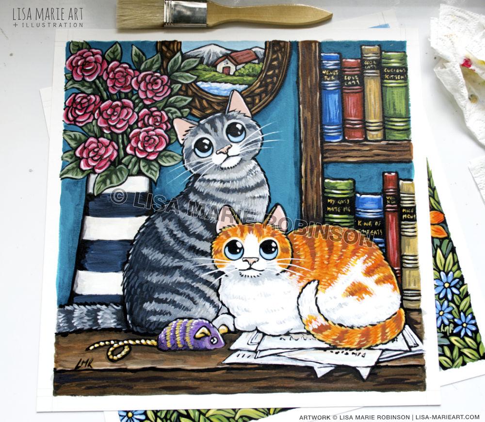 books & felines painting