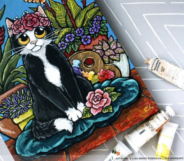 Frida Kahlo Cat Painting