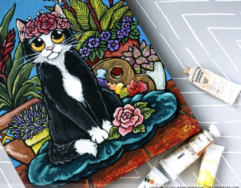 Frida Kahlo Cat Painting